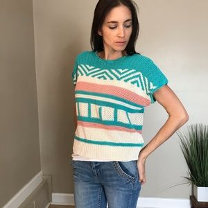 Vintage Boxy Short Sleeve Blue Pink Knit Sweater